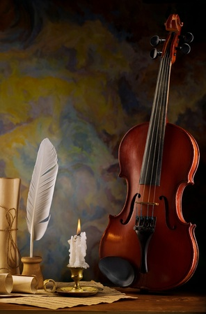 composition of violin and antique items Stock Photo - 12660313