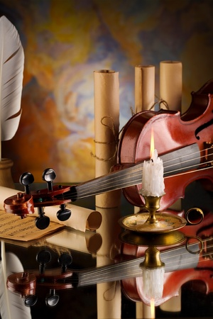 old violin and other retro items photo