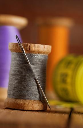 sewing supplies: sewing items macro Stock Photo