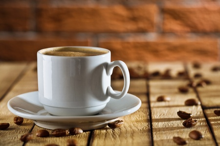 close-up one white coffee cup photo