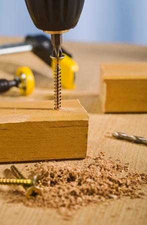 vise grip: process of screwing Stock Photo