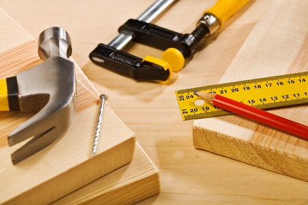 composition of tools on wooden table Stock Photo - 13515321