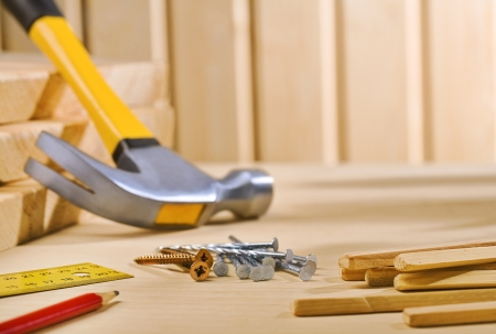 home improvement: composition of working tools Stock Photo