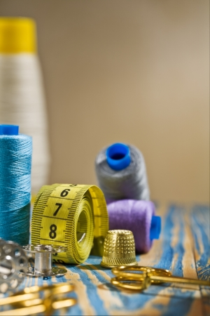 sewing items on the old wooden table Stock Photo - 13914323