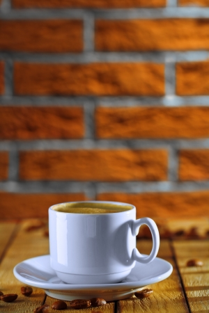 white cup with coffee photo