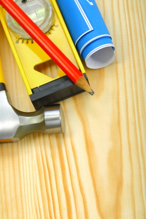 closeup working tools on wooden boards photo