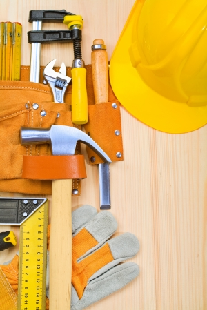 suede belt: tools in belt on boards
