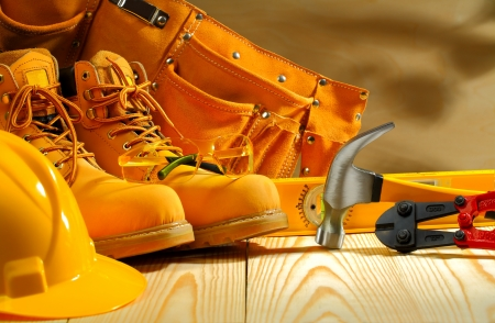 work safety: working clothing and tools Stock Photo