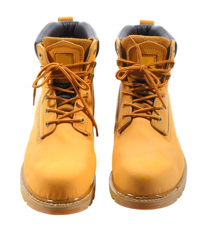 steel toe boots: front view of the working boots