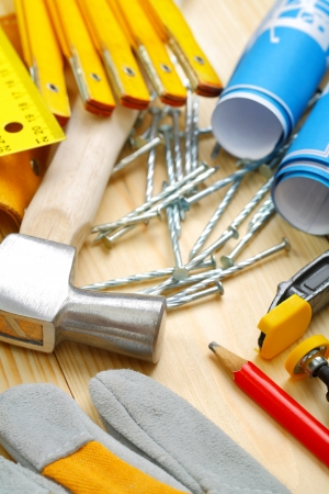 vertical composition of construction tools photo