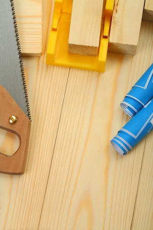 composition of construction tools with copyspace photo