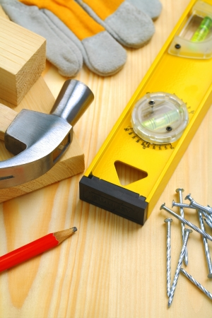 construction tools and materials on table photo