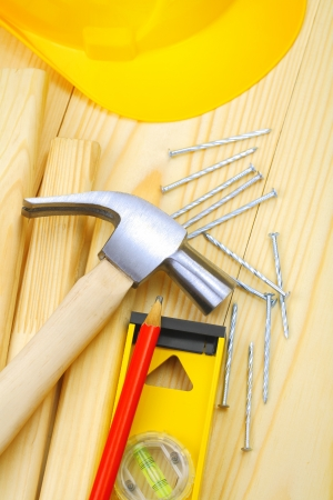 hammer nails level pencil plank harhat photo