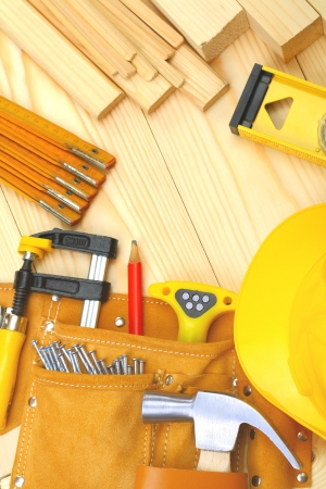 set of construction tools on wooden boards Stock Photo - 14483436