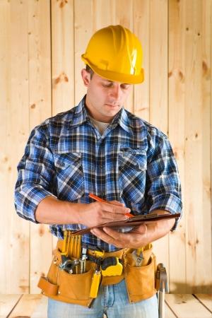 worker write photo