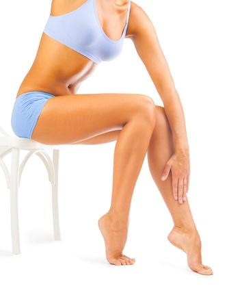 woman legs isolated Stock Photo