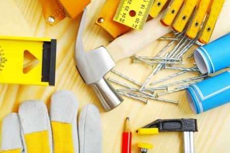 vise grip: carpentry tools set Stock Photo