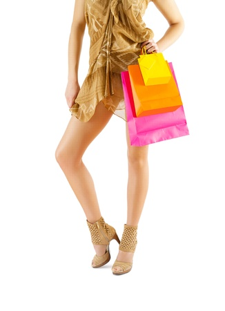 a beautyful woman legs and paper bags Stock Photo - 18234155
