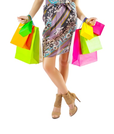 a female holding many paper bags Stock Photo - 18234154