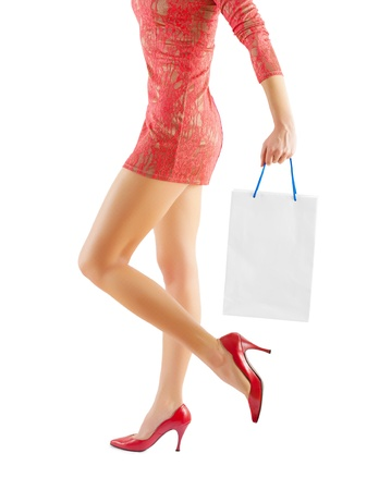 a female holding paper bag Stock Photo - 18234153