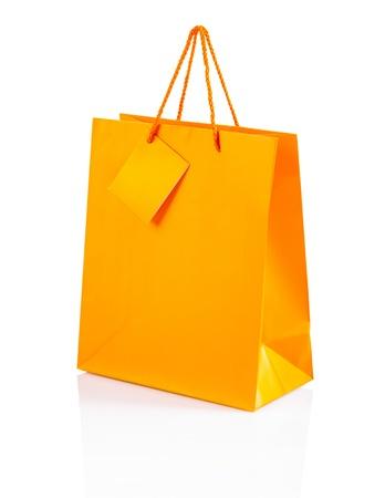an orange color paper bag