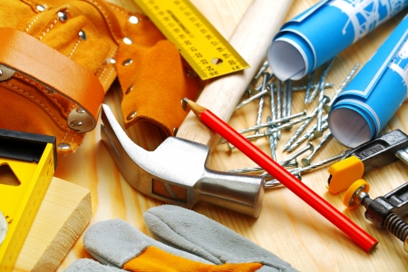 suede belt: building tools on wooden boards Stock Photo