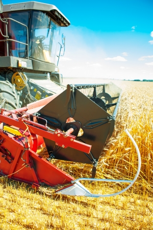 agriculture industry: combine close up Stock Photo