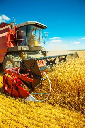 threshing: combine harvester close up