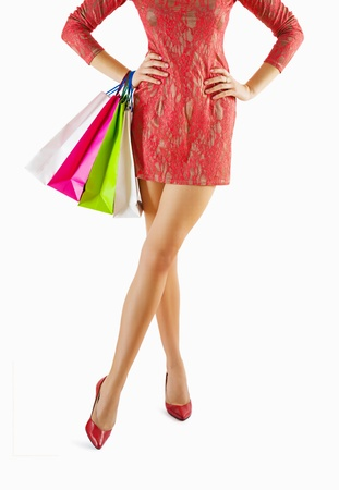 female holdung paper bags Stock Photo - 18234167