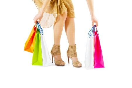 female taking paper bags Stock Photo - 18234098