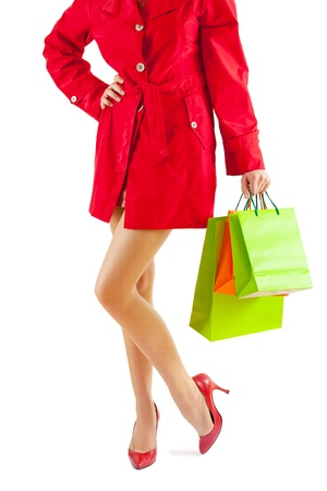 female with paper bags Stock Photo - 18234096