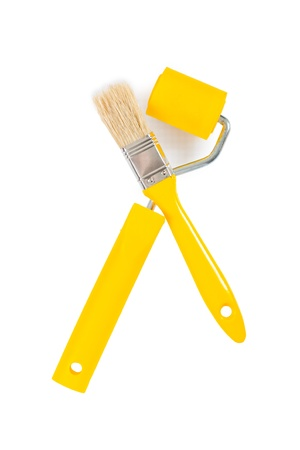 paintroller: yellow paintbrush and paintroller