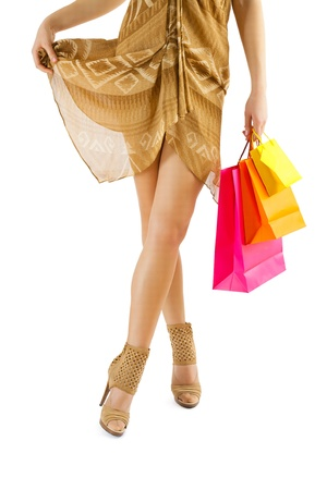 flirting female with paperbags in hand Stock Photo - 18797232