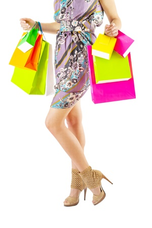 female holding colored paper bags Stock Photo - 18967095