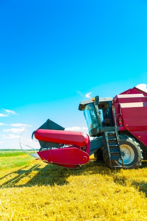 threshing: combine harvester closeup