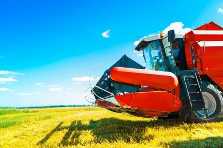 threshing: a combine on field