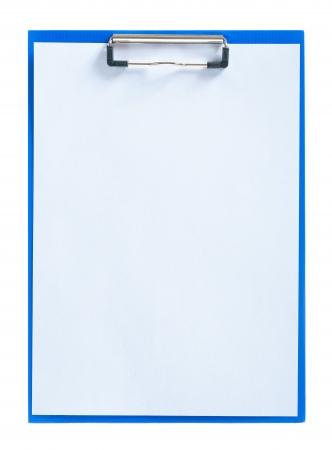 blue clipboard with sheet of paper Standard-Bild