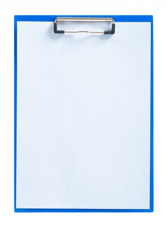 blue clipboard with sheet of paper Stok Fotoğraf