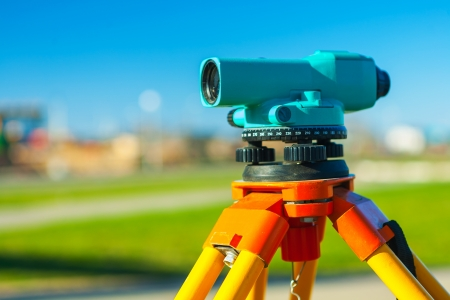 geodetic: close up view on theodolit Stock Photo