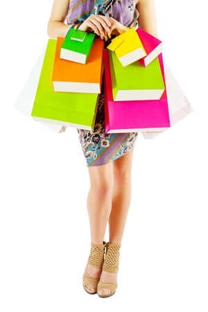 female with colored  paper bags isolated Stock Photo - 19579136