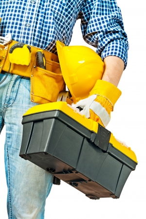 toolbox: toolbox in hand of worker
