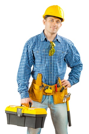 worker with toolbox isolated