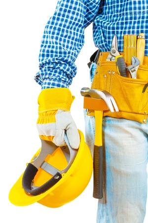 contractor holding helmet Foto de archivo