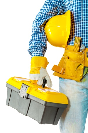 contractor holding toolbox photo