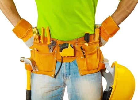 view on tools in contractors belt