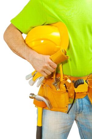 class maintenance: worker holding helmet in hand Stock Photo