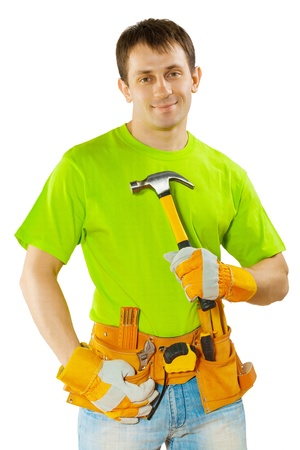 class maintenance: worker with claw hammer Stock Photo