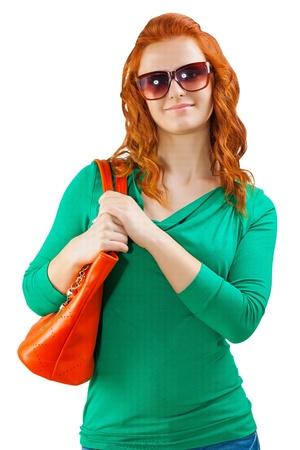 red head girl: a red head girl with handbag