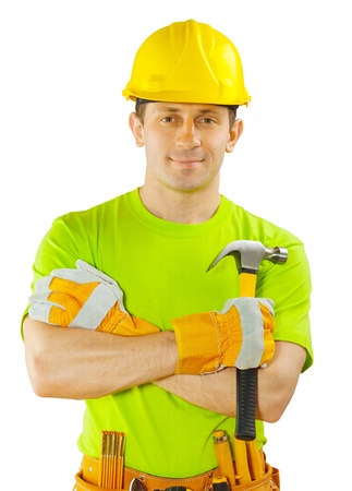 claw hammer: construction worker holding claw hammer