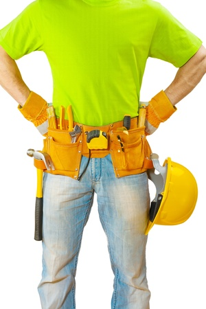 class maintenance: view on belt with tools on worker close up Stock Photo